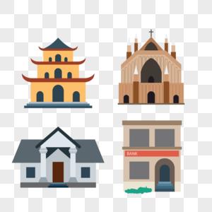 建筑房子塔矢量图标图片