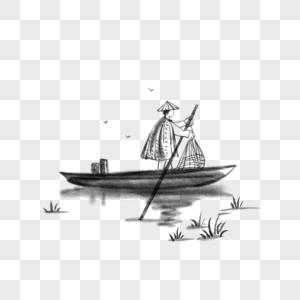 中国风水墨写意渔船图片