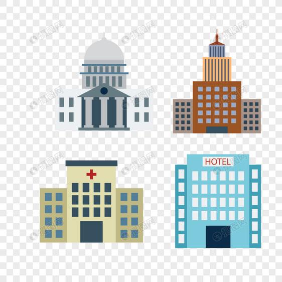医院房子建筑矢量图标图片