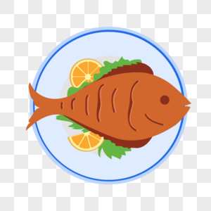 美味的烤鱼矢量插画图片