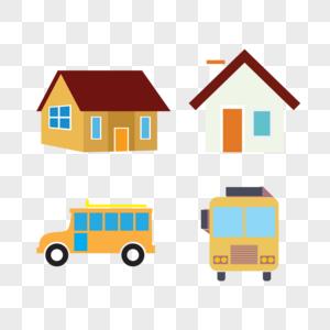 房子车子矢量素材图片