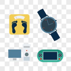 体重秤电脑手表游戏机矢量图标图片