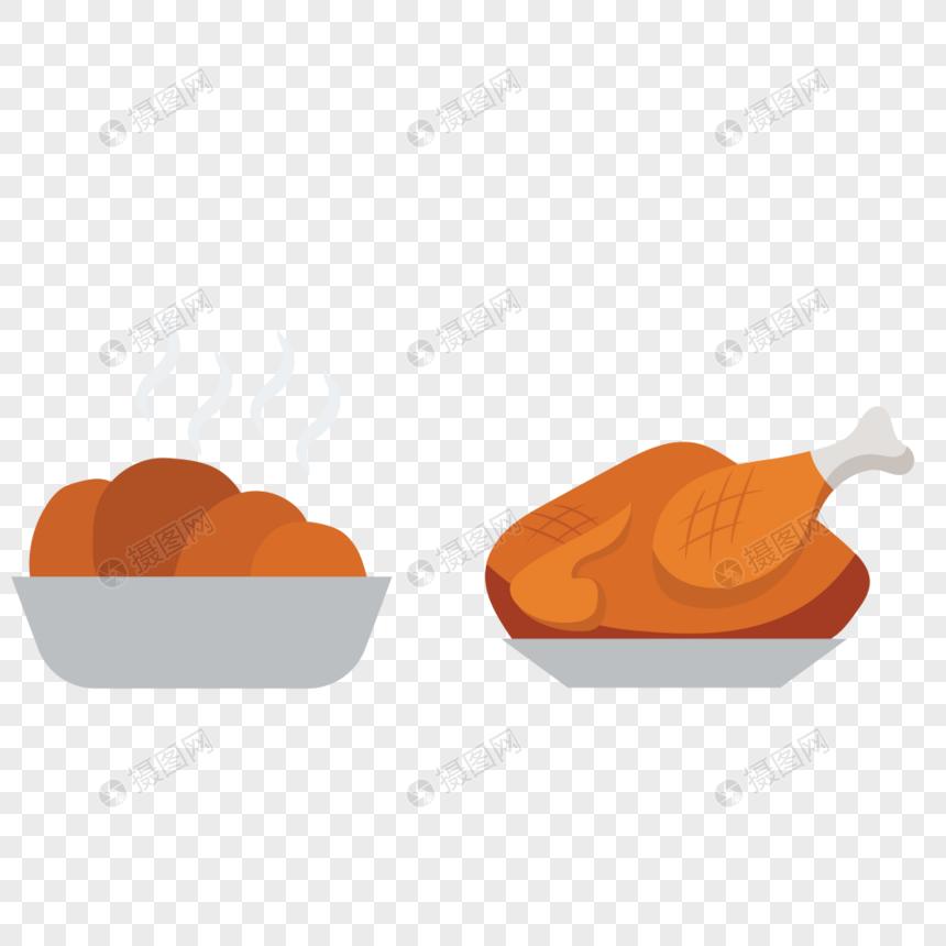 烤鸡美食矢量图标图片