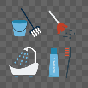 扫地浴缸拖把牙刷矢量图标图片