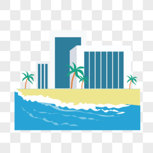 海边房子矢量图标图片