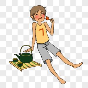 卡通大暑男孩吃冰糕图片