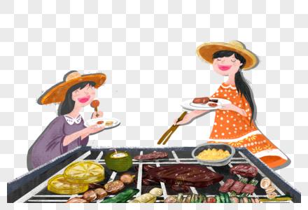 吃烧烤的女孩图片