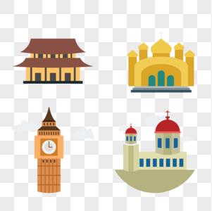 房子建筑钟楼矢量图标图片