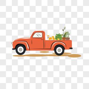 运送绿植的小汽车图片