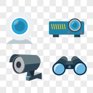 监控摄像头和投影仪和望远镜矢量元素图片