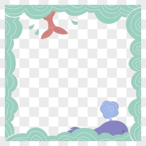 海浪鱼尾边框图片