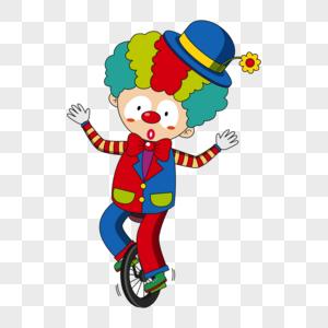 骑独轮车的小丑图片