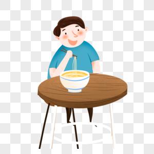 坐在饭桌吃饭图片