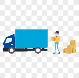 男人在往车上搬运货物图片
