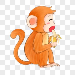 小猴子吃香蕉图片