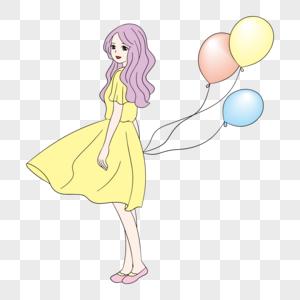 夏日素材拿着气球回眸的小姐姐图片