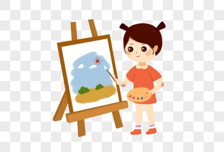卡通手绘画画的小女孩图片