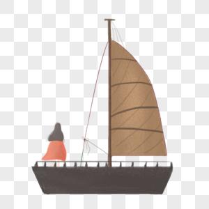 手绘帆船美女背影图片