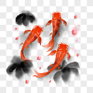水墨中国风锦鲤鲤鱼图片