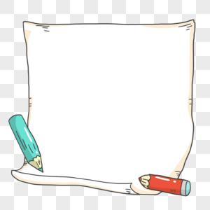 手绘卡通铅笔装饰边框图片