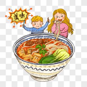 吃面牛肉面麻辣小面美食精美手绘卡通人物可爱插画图片