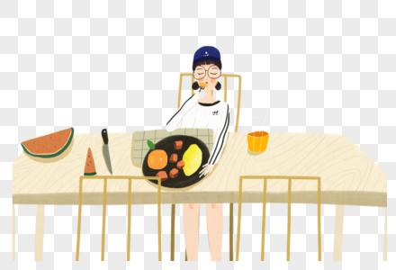 吃早饭的女孩图片