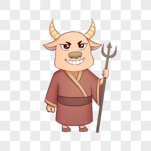 中元节鬼节可爱插画牛头图片