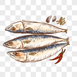 鱼海鲜鱼肉蒸鱼新鲜食材烹饪手绘插画图片