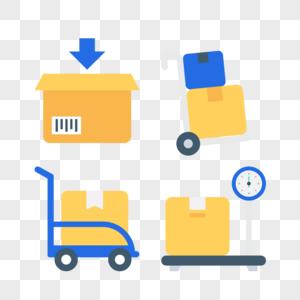 运输工具小拖车图标免抠矢量插画素材图片