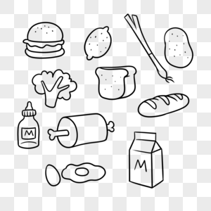 汉堡柠檬西蓝花肉骨头奶瓶鸡蛋牛奶面包法棍大葱土豆图片