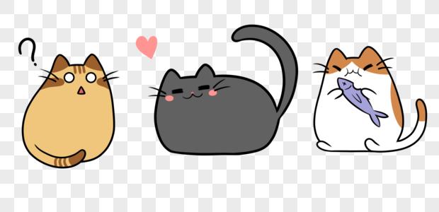 猫猫抱鱼疑惑竖尾巴橘猫黑猫橙白三件套图片