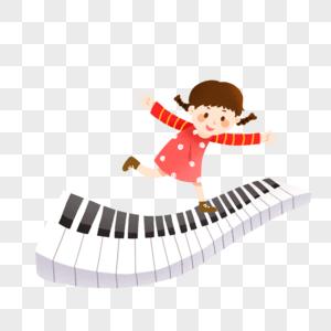 暑假钢琴培训班招生在琴键上跳舞的女孩图片