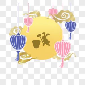 中秋节月中兔灯笼元素图片