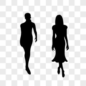 美女走秀逛街站立走姿剪影图片