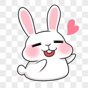 洒爱心的小兔兔笑眯眼图片
