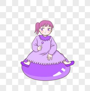 坐史莱姆布丁果冻上吃棒棒糖的小女孩图片