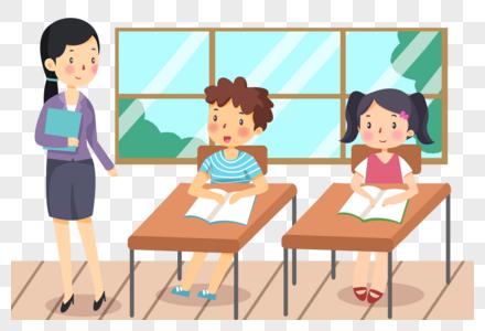 手绘在课堂上提问的学生图片