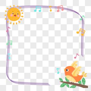 手绘可爱小鸟歌唱装饰花边边框图片