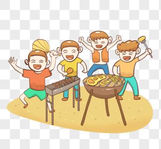 快乐暑假吃烧烤图片