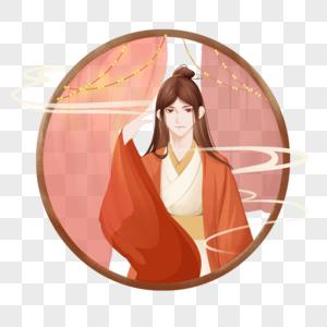 红色中秋节古代节日古典美男子肖像古风图片