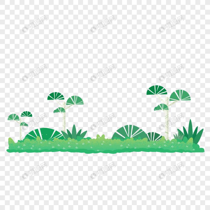 手绘卡通绿色可爱草地松树植物图片