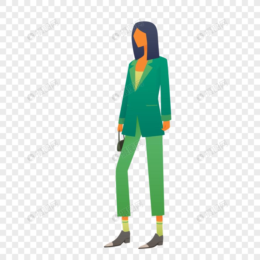 时尚绿色西装女士素材图片