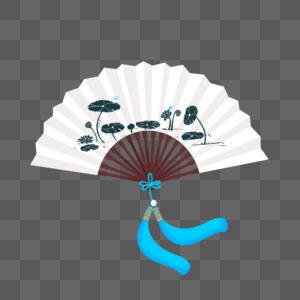 水墨荷花中国风古风折扇图片