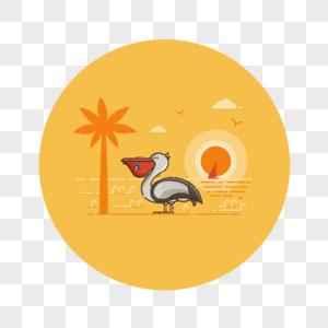 椰林湖边可爱鹈鹕鸬鹚吃鱼的鸟图片