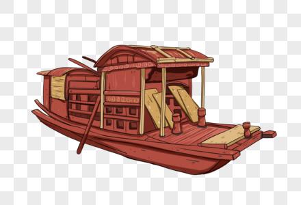 红色的船图片