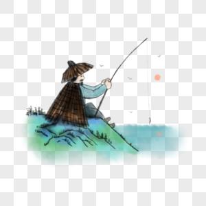 中国风渔翁垂钓图片