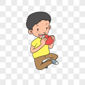 吃苹果的男孩儿图片