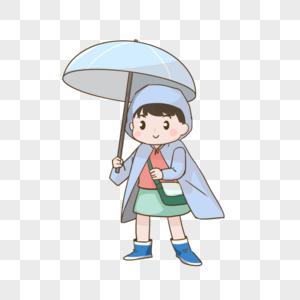 雨天上学的学生图片