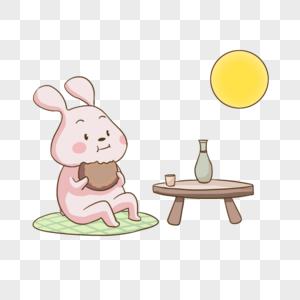 小兔子吃月饼赏月图片
