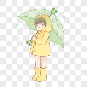 雨天雨衣青蛙雨伞图片